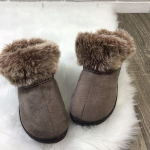 Isotoner | Brown Slip on Faux Fur Ankle Booties